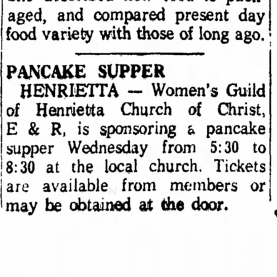 Hen UCC Guild 20Feb1960 - packaged, and compared present day food variety...