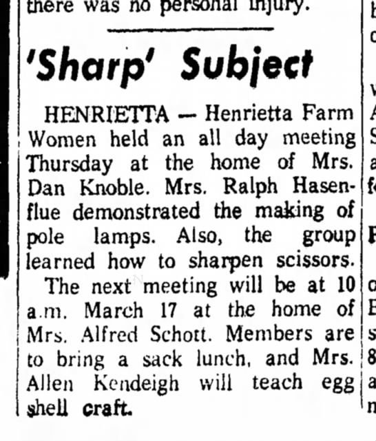 Hen Farm Wms 20Feb1960 - there was no personal injury. 'Sharp' Subject...