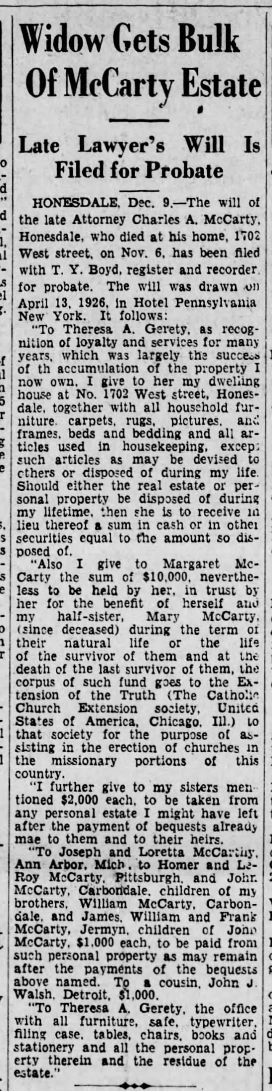 Charles A McCarty Will Published Scrn Rep 12-10-1931 pg 10 - - Widow Gets Bulk Of McCarty Estate Late...