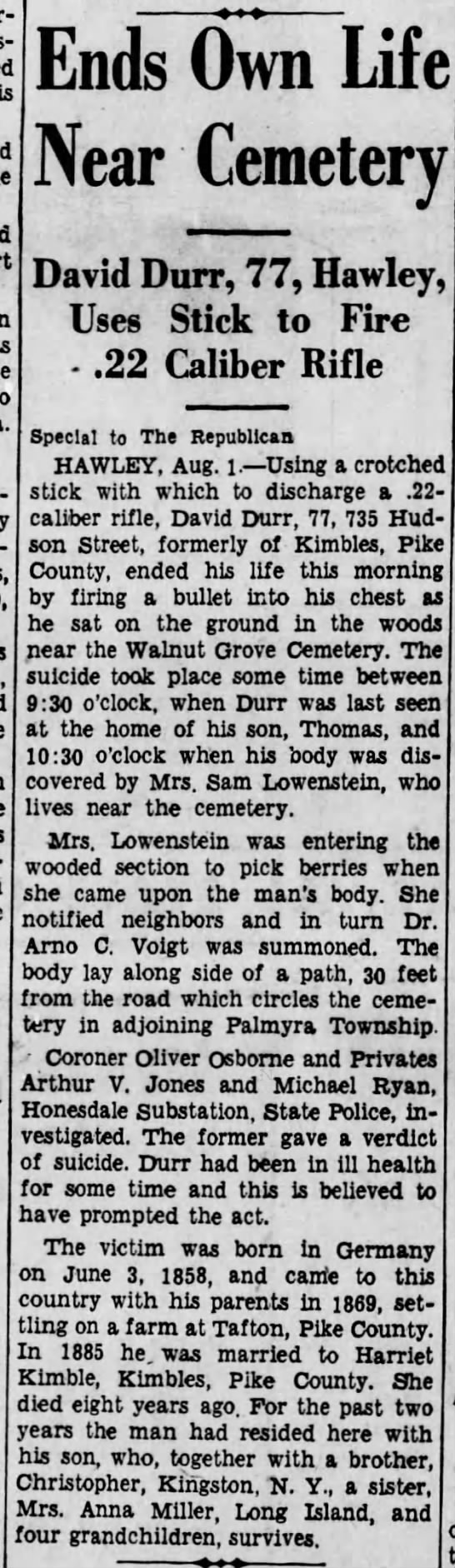 Mrs Samuel Lowenstein finds body - Ends Own Life Near Cemetery jj.j jj Hawley Uses...