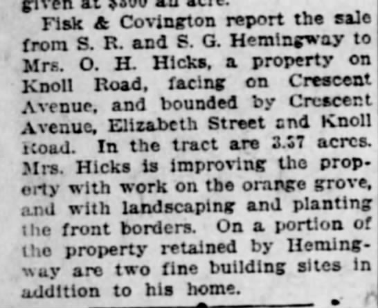 Hemingway Hicks on Knoll & Crescent - given Fisk & Covington report the ale from S....