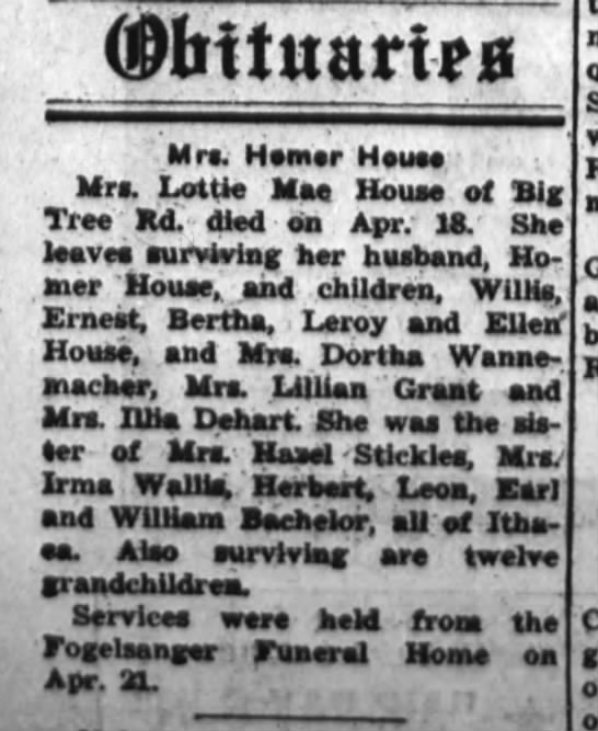 Mrs. Homer House, Mother of Mrs. Lillian Grant Obit - (Dbttitarim Mrs. Homer House Mrs. LotU Mae...