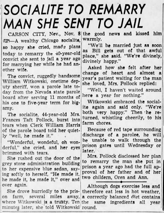 Frances Taft Pollock to Remarry Man She Sent to Jail - cnri A ITF TO MAN SHE SENT TO JAIL CARSON CITY....