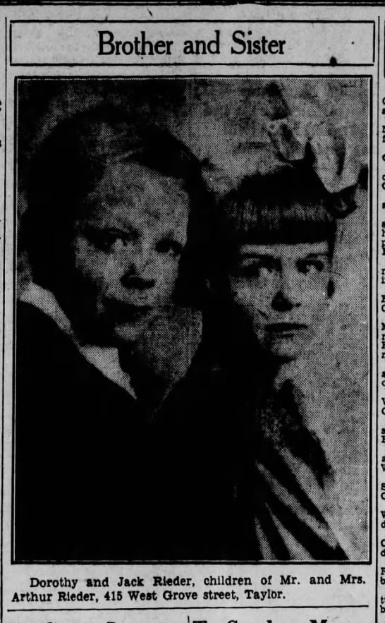 Jack and Dorothy Rieder, Scranton Republican, 4 July 1932 - . ' : - , V , Brother I vv .... li Dorothy and...