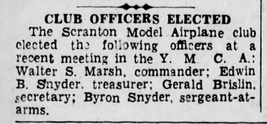 Byron Lewis Snyder - CLUB OFFICERS ELECTED The Seranton Model...