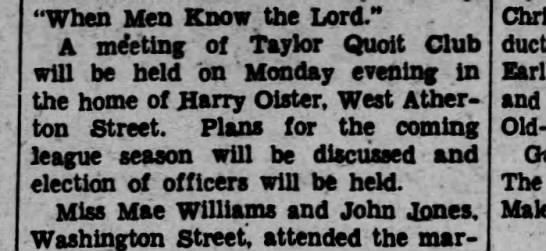 "Harry Oister, Scranton Republican, 30 March 1936 - ""When Men Know the Lord."" A meeting of Taylor..."