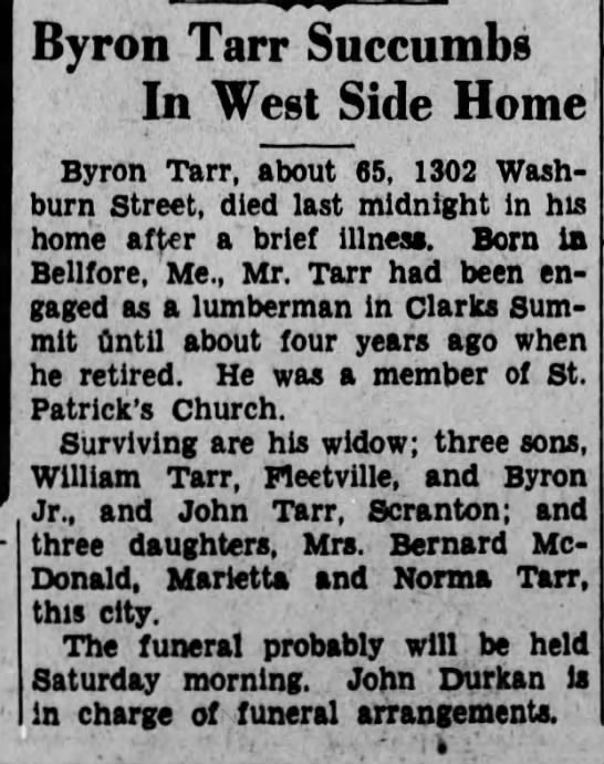 05061936bryon - Byron Tarr Succumbs In West Side Home Byron...
