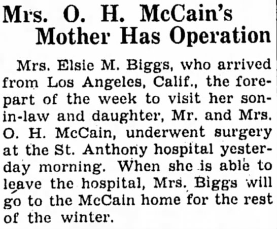 15 Dec 1945 Carroll Daily Times Herald, Carroll, Iowa - Mis. O. H. McCain's Mother Has Operation Mrs....