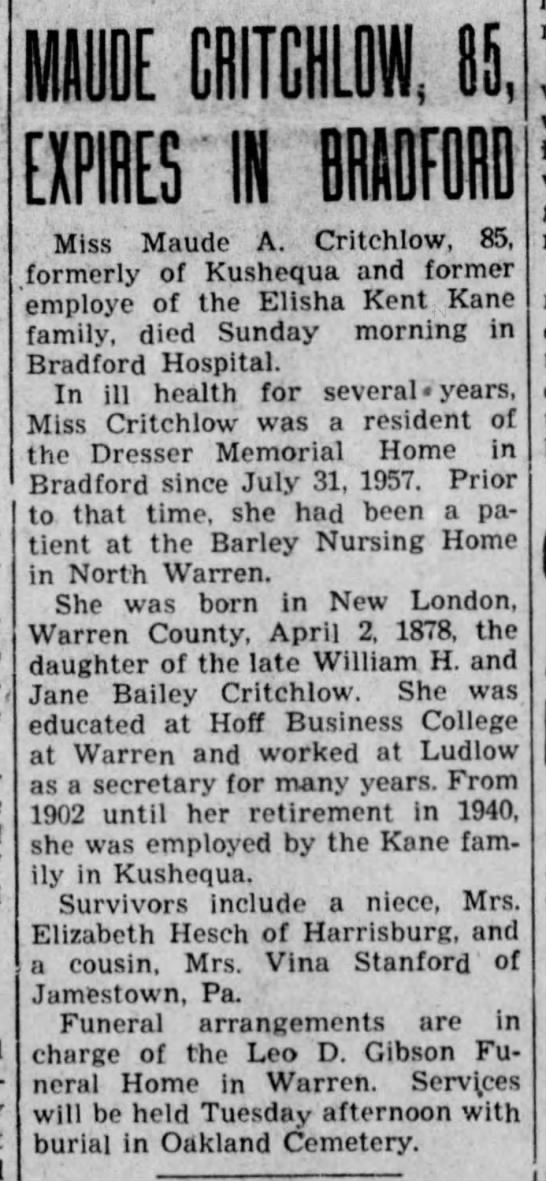 Maude Amelia Critchlow Obituary 1963 - E EXPIRES 'IN BRADFORD Miss Maude A. Critchlow,...