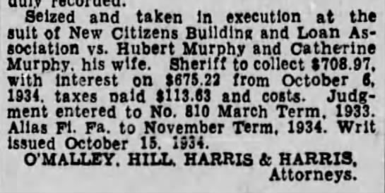 Murphy Real Estate 3 - Seized and taken In execution at the suit of...