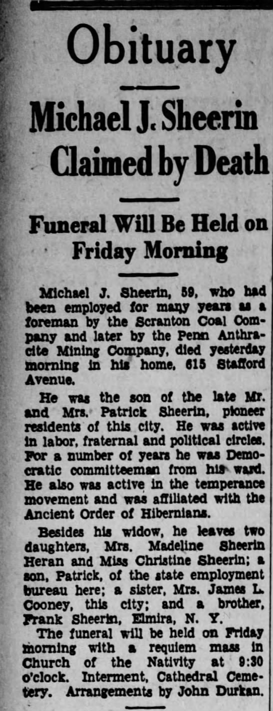 - Obituary Michael J, Sheerin Gaimed by Death...