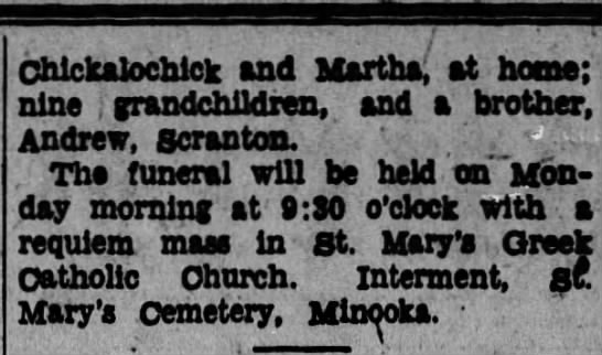 Obituary of William Badick - Chlckalocnlck and Martha; at home; nine j...