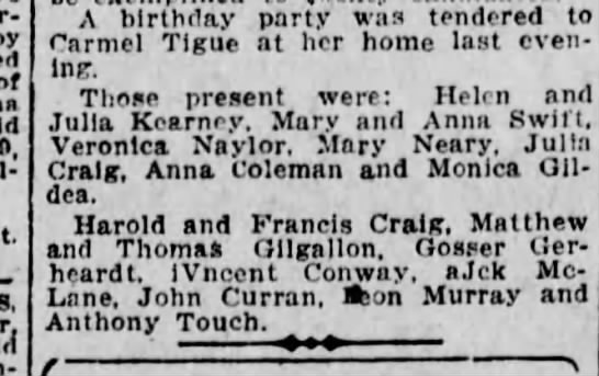 Francis Patrick Craig - by of - ,, A birthday party was tendered to...