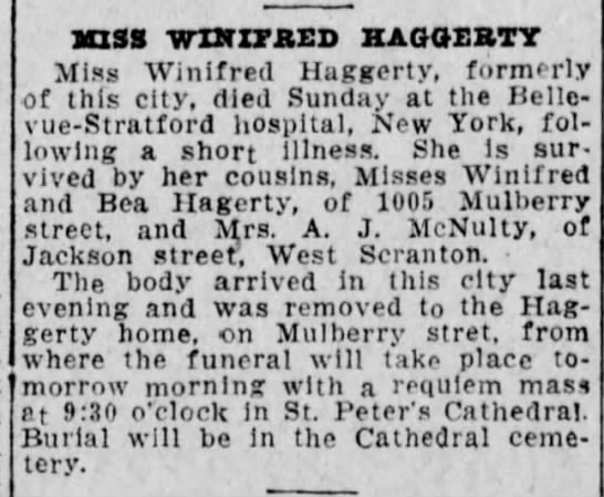 Winifred Haggerty14feb1923 - SUSS WZXTXTBED HAGOERTY Miss Winifred Haggerty,...