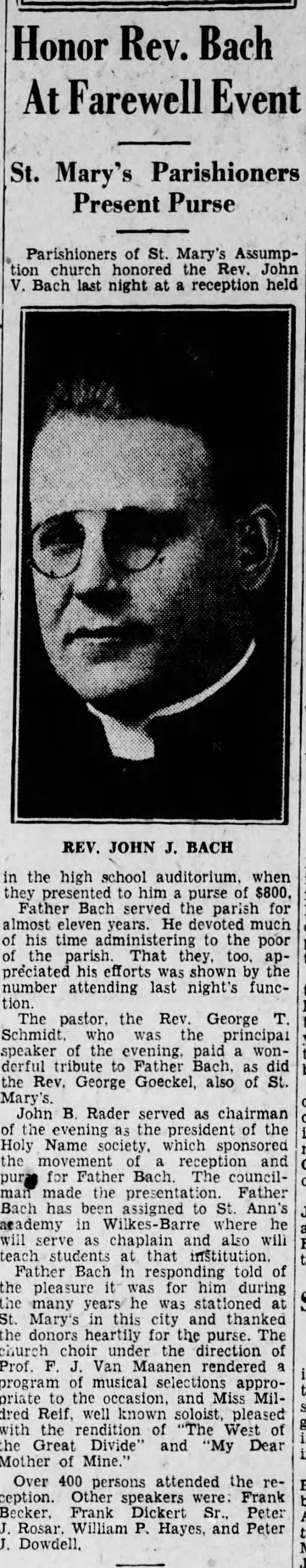 Father Bach reassigned - Honor Rev. Bach At Farewell Event St. Mary's...