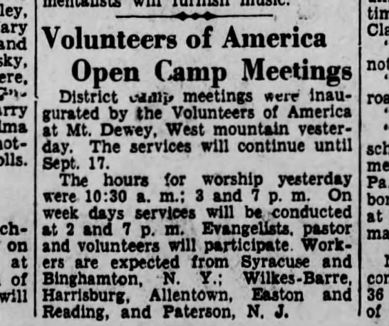 Camp mtg - and ? - - on at of will Volunteers of America...