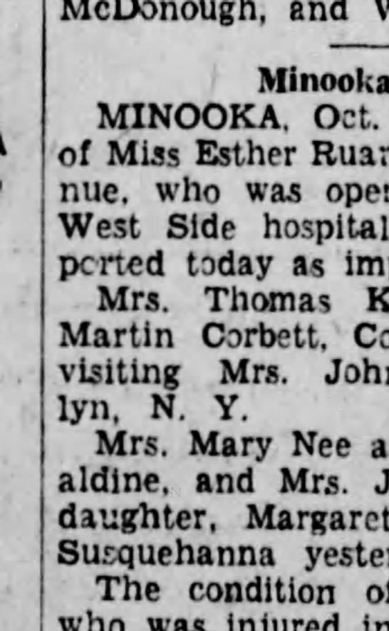 Mrs Thomas Kearney/Mrs Martin Corbett, Brooklyn Visit - McDonough, end Mlnooka MINOOKA, Oct. of Miss...