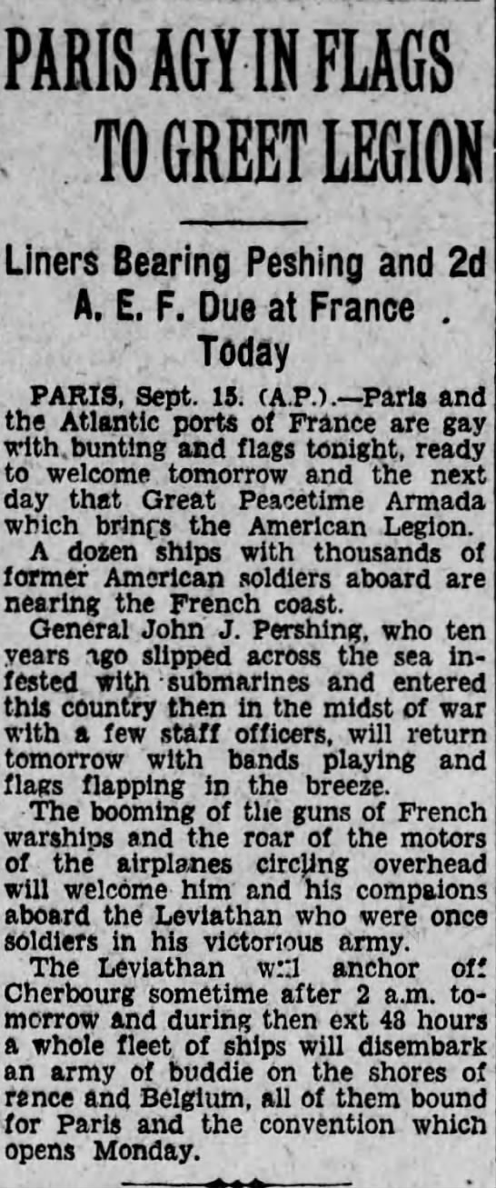 content in 1927 - PARIS AGY IN FLAGS . TO GREET LEGION Liners...