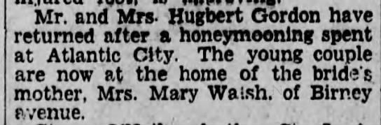 Hugh and Catherine Gordon return from honeymoon. - Mr. and Mrs - Hugocrt Gordon nave returned...