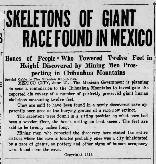Mexico City 12 ft Giants - SKELETONS OF GIANT RACE FOUND If! MEXICO Bones...
