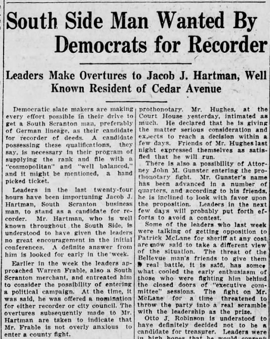Jacob Hartman Jr - South Side Man Wanted By Democrats for Recorder...