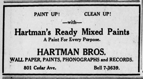 "Hartman Bros Paints - PAINT UP! CLEAN UP! . "" "" ; with Hartman's..."
