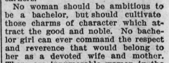 Anti-bachelor girl opinion from 1902