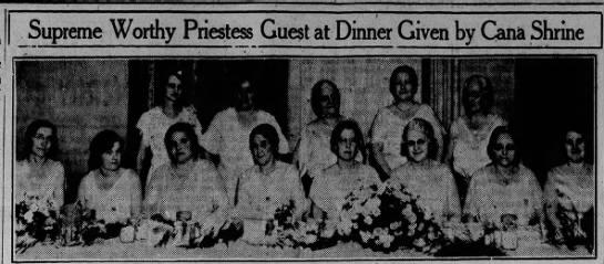 Blodwyn Davis - Supreme Worthy Priestess Guest at Dinner Given...