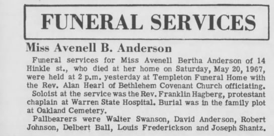 - Miss Avenell B. Anderson Funeral services for...