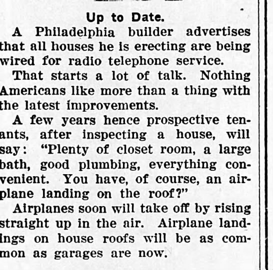 roof landings - Up to Date. A Philadelphia builder advertises...
