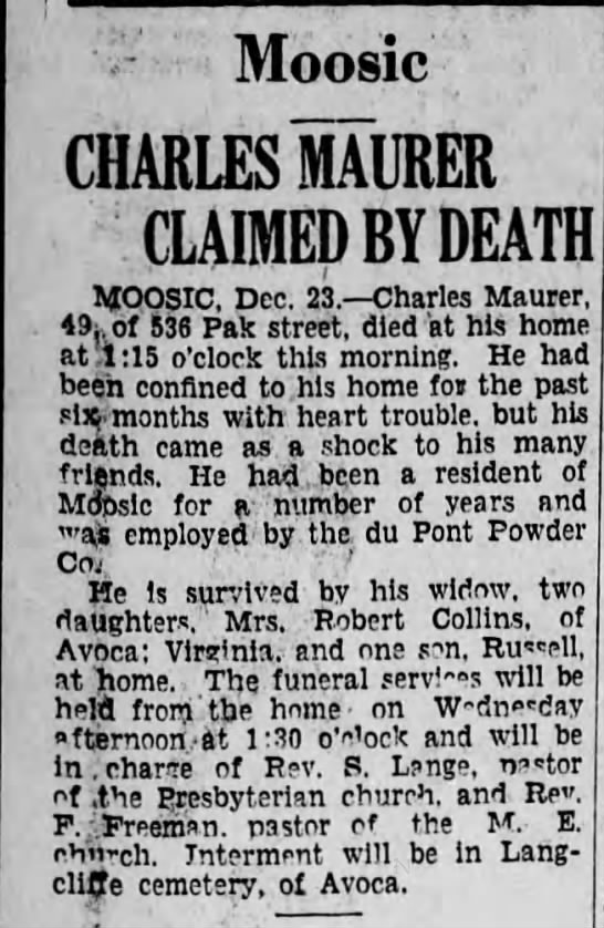 Charles Maurer Claimed by Death - Moosic CHARTS MAURER CLAIMED BY DEATH MOOSIC,...