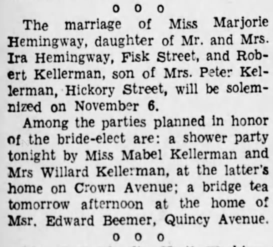 Robert Kellerman weds Marjorie Hemingway - 0 0 0 The marriage of Miss Marjorle Hemingway,...
