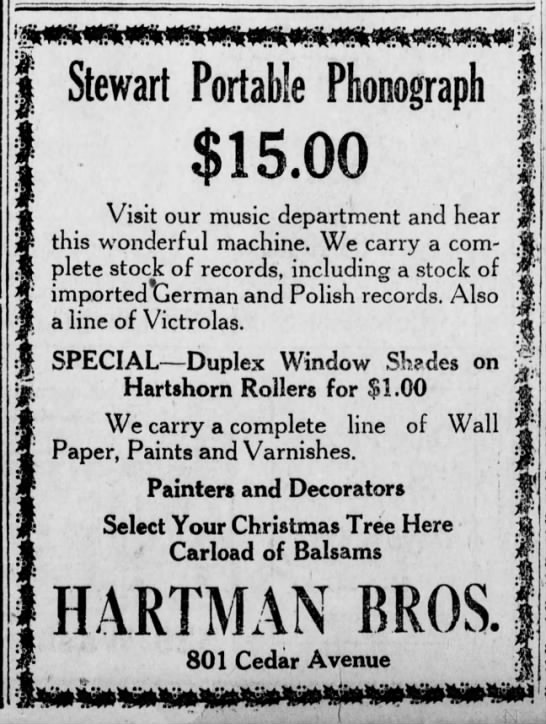 Hartman Bros Christmas Ad - Stewart Portable Phonograph $15.00 Visit our...