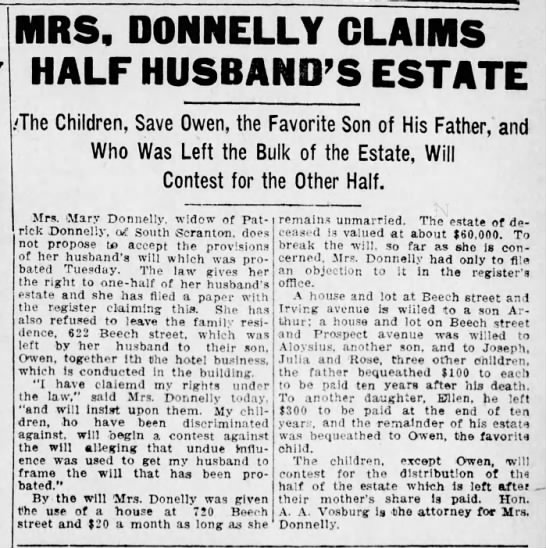 Mary contests Patrick's will - RS, DONNELLY HALF HUSBAND'S ESTATE ;The...