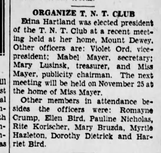Txt club - as ORGANIZE T. N. T. CLUB Edna Hartland was...