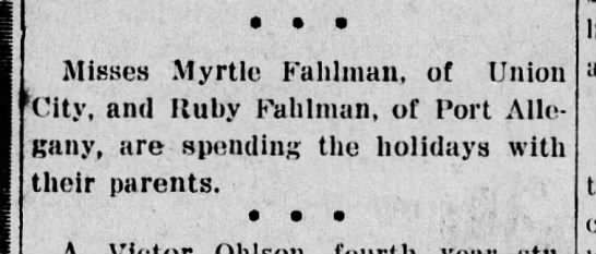 Myrtle & Ruby Fahlman Sisters