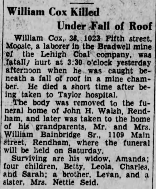 "William Cox Killed Under Fall of Roof - j J Uj ""the - Lehigh Coal company, William Cox..."