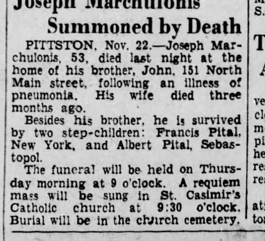 - Summoned by Death PITTSTON. Nov. 22. Joseph Mar...