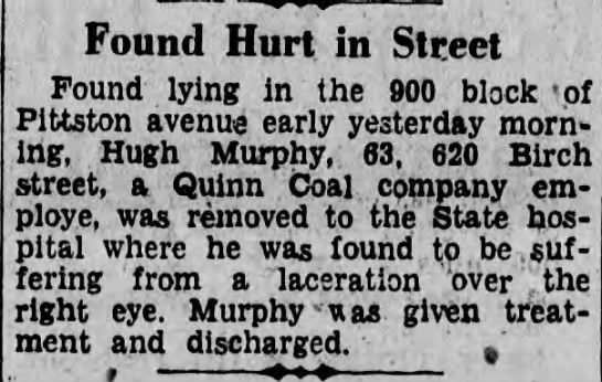 Hugh Murphy hurt - Found Hurt in Street Found lying in the 900...