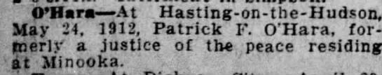 Patrick F. O'Hara, Death Announcement - O'Hara At Hasting - on - the - Hudson, May 24,...