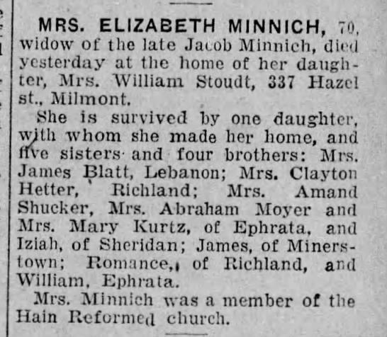 Minnich, Elizabeth nee Rabold - MRS. ELIZABETH MINNICH, 70, widow of the late...