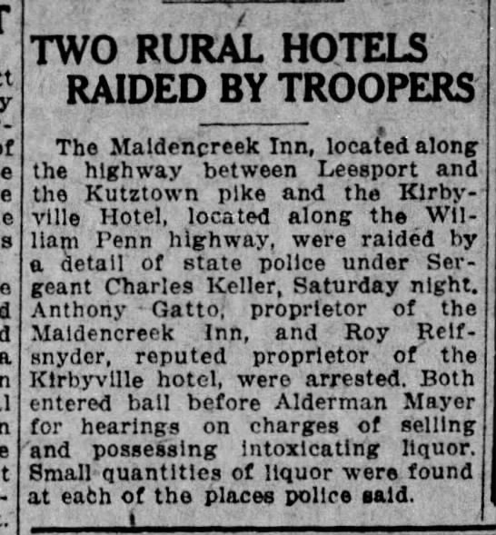- a TWO RURAL HOTELS RAIDED BY TROOPERS The...