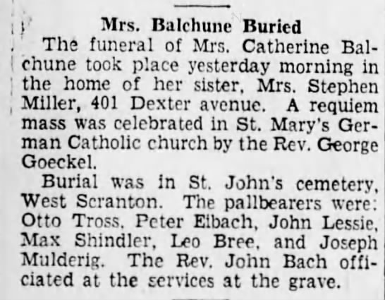 - I (' Mrs. Balchune Buried , - The funeral of...