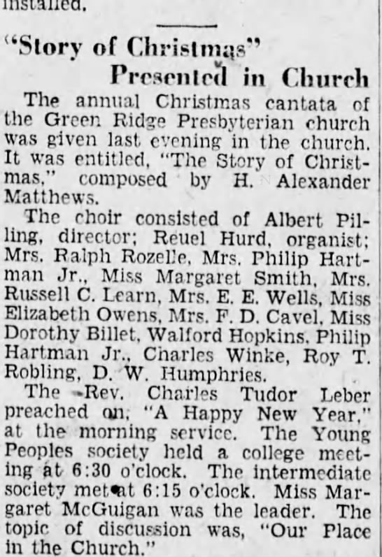 "Roy T Robling 1929 - choir - ""Slory of Christmas' Presented in Church The..."