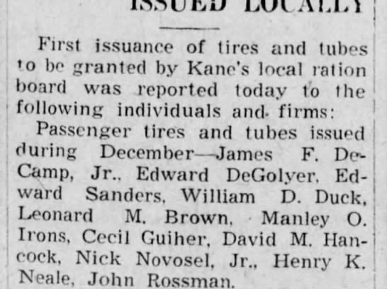 Edward - First issuance of tires and tubes to be granted...
