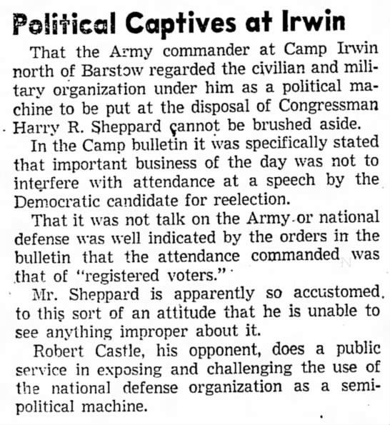 - Political Captives at Irwin That the Army...
