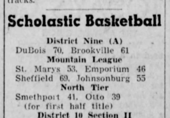 1956 NT First Half title - - Scholastic Basketball District Nine (A) ....