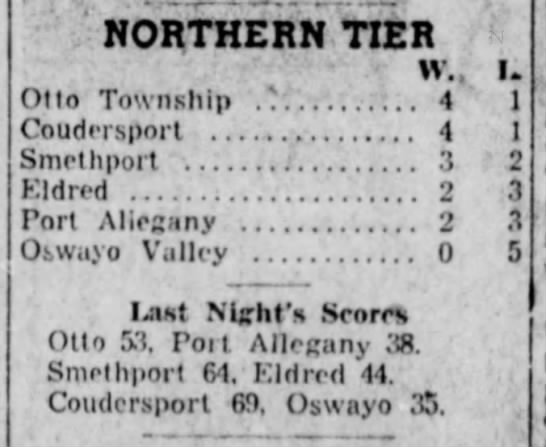 1956 Northern Tier 2nd Half - NORTHERN TIER Otto Township Coudersport . . ....