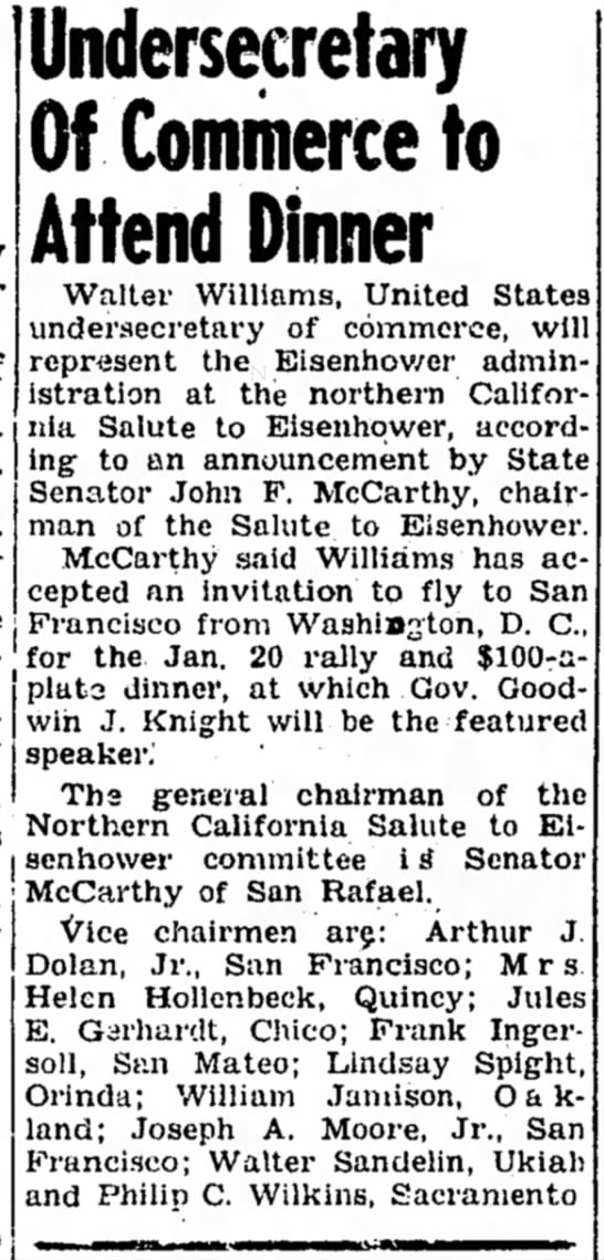 Ukiah News - Jan 12 1956 - Lindsey H Spight - Undersecretary Of Commerce to Attend Dinner...