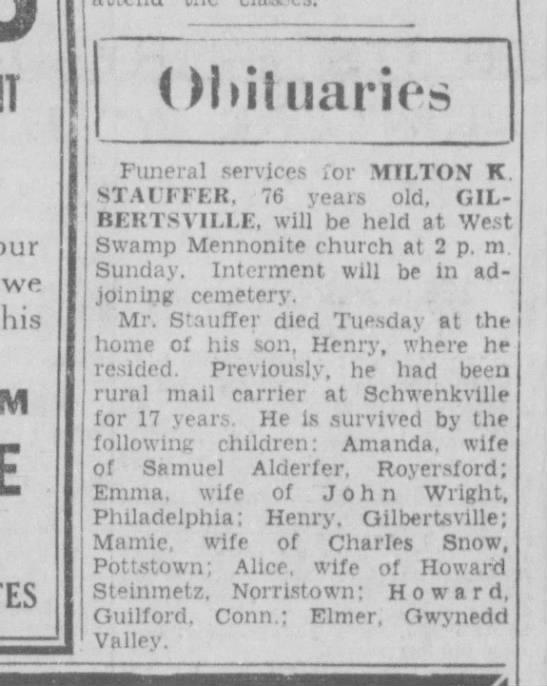 Milton Stauffer Obit - Funeral services ¿or MILTON K STAUFFER, 76...